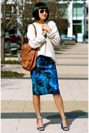 blue Zara skirt - beige Gap sweater - brown Marc Jacobs bag - blue Zara sandals
