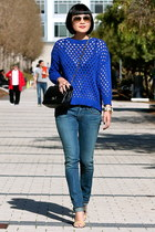 blue Club Monaco sweater - blue citizens of humanity jeans - black Chanel bag