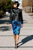 blue neoprene Zara skirt - ray-ban sunglasses - Prabal Garung X Target heels