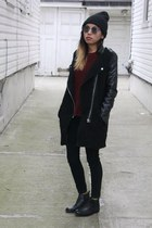 leather sleeve Sheinside jacket - leather Topshop boots - knitted H&M jumper