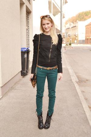 teal New Yorker pants - black Bershka jacket - tawny New Yorker bag