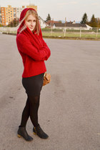 red lindex sweater - black Topshop boots - mustard Zara bag