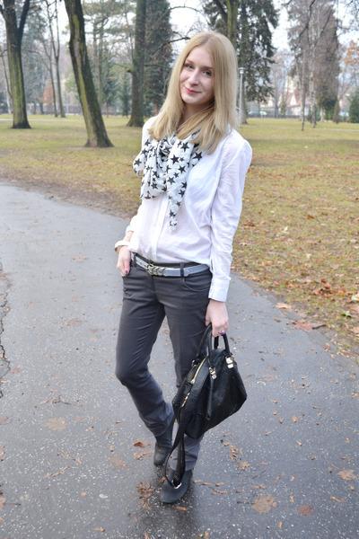 black Topshop boots - white H&M shirt - black New Yorker scarf