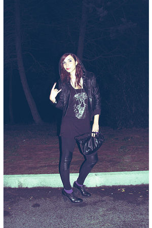 black jacket - black H&M shirt - black H&M leggings - black Mencucci shoes