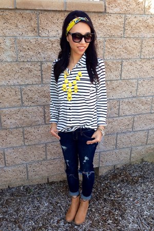 striped Forever 21 shirt - camel suede H&amp;M boots