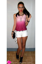 pink romwe top - black Bamboo shoes - white Beverly Jeans shorts
