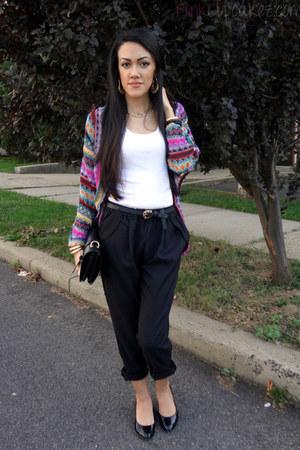 chicnova bag - aupiecom pants - Charlotte Russe flats - romwe cardigan