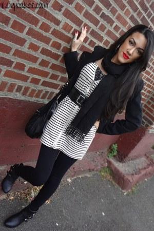 black easy pickins boots - black Forever 21 jacket - black Nine West bag