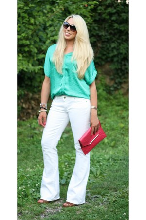 white unknown jeans - pink merona bag - green unknown blouse