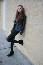 black Michael Kors jacket - nude American Apparel shirt
