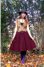 Dark-brown-miss-ruths-time-bomb-vintage-skirt-gold-vintage-vest-deep-purple-