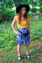 black vintage shoes - black vintage hat - blue vintage shorts