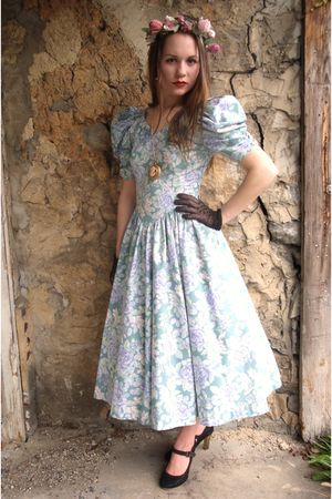 blue Laura Ashley dress - brown thrited shoes - black vintage gloves - pink self