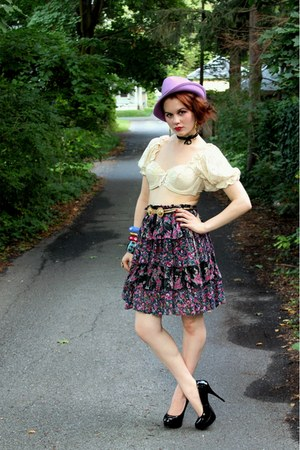 amethyst floral vintage skirt - amethyst vintage hat - cream vintage top