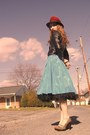 Sky-blue-miss-ruths-time-bomb-skirt-black-talbots-skirt-black-vintage-jacket