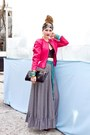 Hot-pink-miss-ruths-time-bomb-jacket-black-leather-clutch-vintage-purse-blac