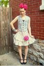 Blue-vintage-vest-white-vintage-skirt-brown-thrifted-shoes-pink-purse-pi
