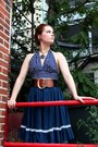 Navy-ruffled-vintage-skirt-black-vintage-belt
