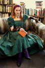 Green-vintage-laura-ashely-dress-amethyst-express-tights-purple-wrapped-turb