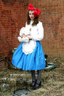 Blue-miss-ruths-time-bomb-skirt-white-salvation-army-blouse-black-ross-shoes