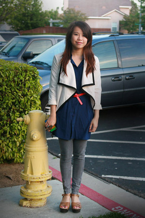 ivory Pinkbulletstore jacket - gray H&M tights - navy Pinkbulletstore blouse - b
