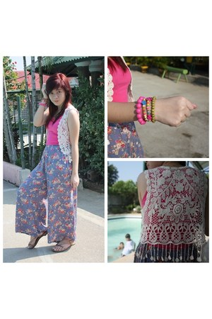 Gifts bracelet - floral palazzo thrifted pants - lace fringe thrifted vest