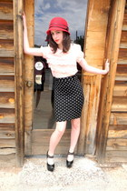 red Target hat - black polka dot H&M skirt