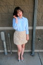 Light-blue-button-down-asos-shirt-silver-t-bar-zara-heels-beige-cameo-skirt