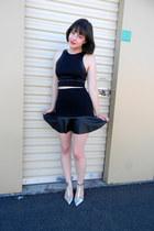faux leather Forever 21 skirt - crop Nasty Gal top - t-bar Zara heels