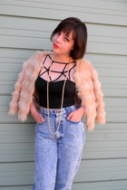 black crop Solemio top - light blue acid wash thrifted jeans