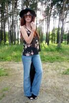 second hand jeans - second hand hat - Stradivarius blazer - brylove glasses