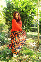 navy handmade skirt - carrot orange cable knit handmade sweater