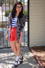 Red-high-waisted-forever-21-shorts-black-express-glasses-heather-gray-foreve