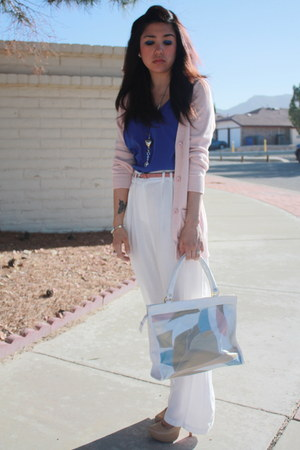 blue cropped Agaci blouse - camel grandma thrifted purse