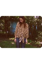 brown leopard print Playground Love Vintage blouse - blue Forever 21 jeans