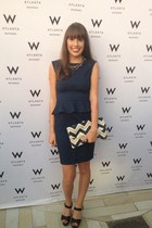 navy peplum Dorothy Perkins dress - chevron clutch Presh purse