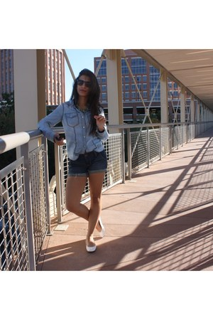 denim trouve shirt - American Eagle shorts - Nine West flats