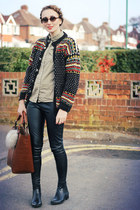 vintage jumper - leather Topshop leggings - denim new look shirt