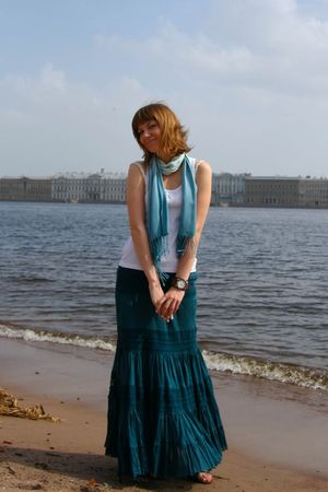 white Topshop top - green scarf - Forever 21 skirt