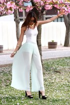 light blue mint Zara pants - white H&M top - black Zara heels