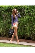 Zara heels - vintage willis coach bag - floral print ted baker shorts
