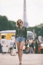 denim Zara shorts - leather Michael Kors bag - khaki Zara blouse