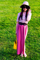light pink vintage shirt - peach feelt satin bow free people hat