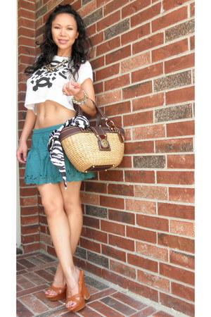 Celine shoes - straw handbag coach bag - green cotton Aeropostale skirt