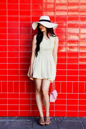 cotton OASAP dress - wide brim San Diego Hat Company hat - flap Chanel bag
