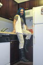 White-cardigan-brown-top-white-decree-jeans-black-decree-boots