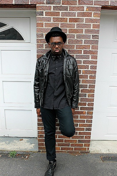 black top thrifted vintage hat - black pleather Urban Outfitters jacket