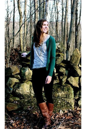 teal cardigan - dark brown boots