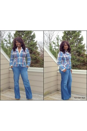 Salvation Army blazer - trouser banana republic jeans - Salvation Army blouse