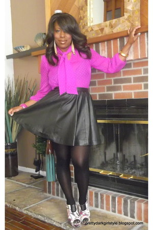 black faux leather H&M skirt - magenta tie neck Forever 21 blouse